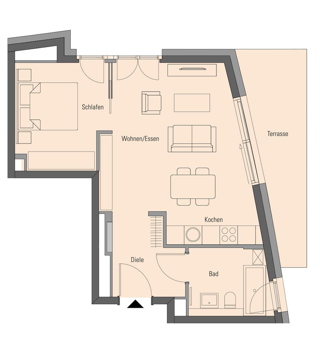 Wohnung 2.0.1, 2 Zimmer, 56,1 m²