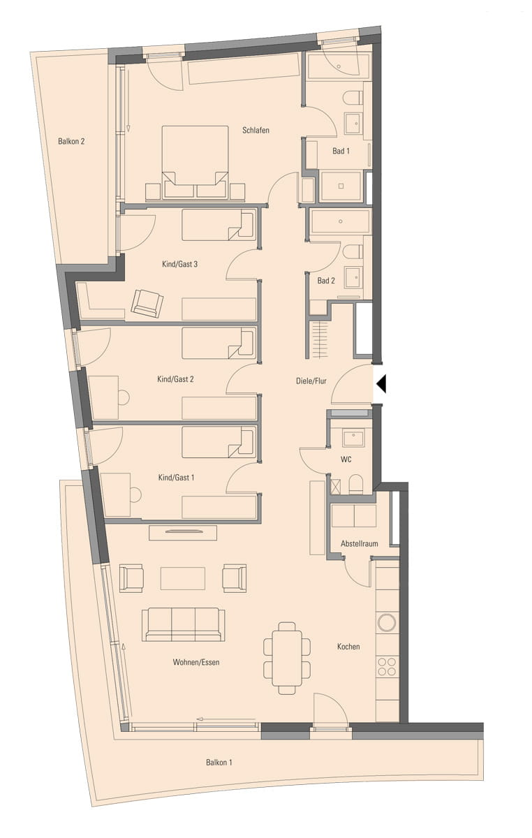 Apartment 2.1.3, 5 Rooms, 143.9 m²
