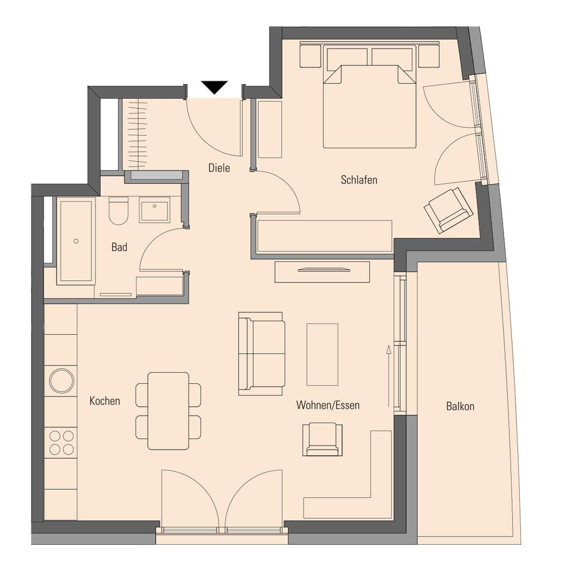 Apartment 2.1.4, 2 Rooms, 64.6 m²