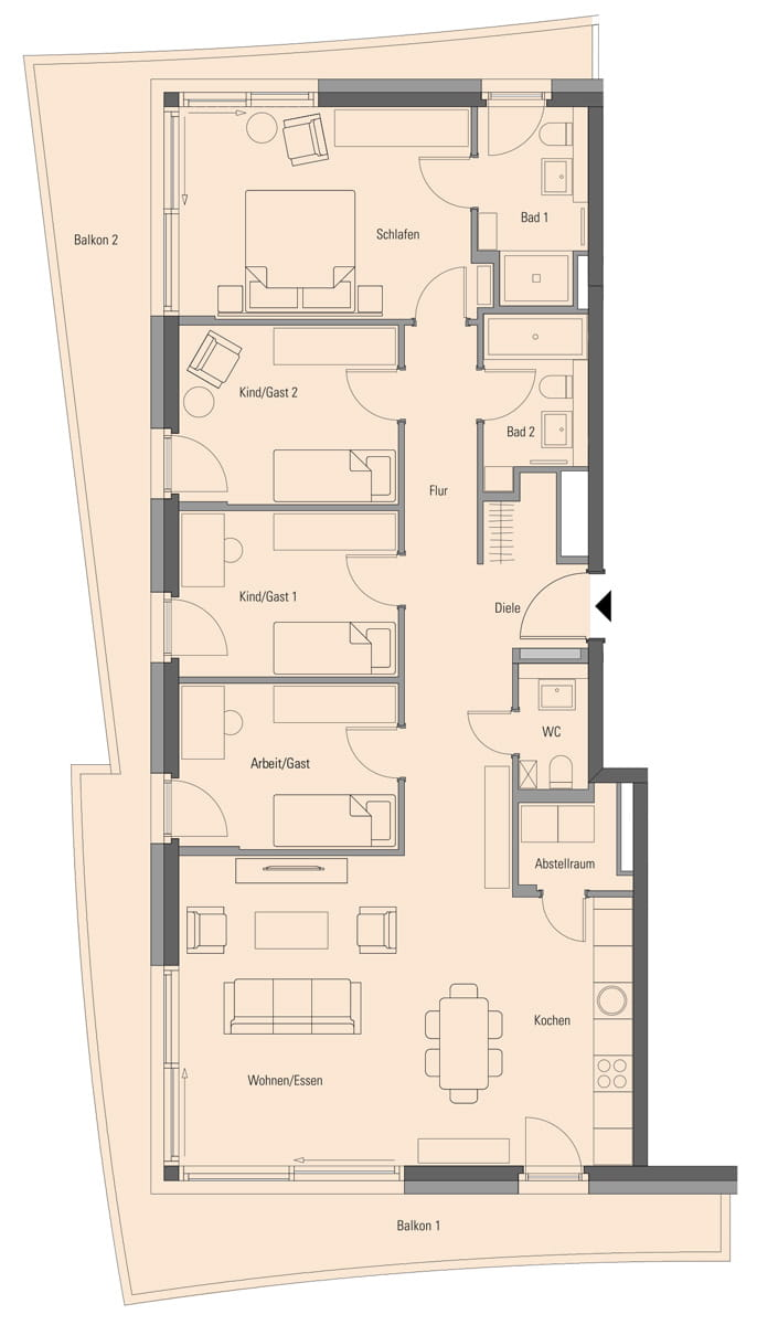 Apartment 2.2.6, 5 Rooms, 138.0 m²