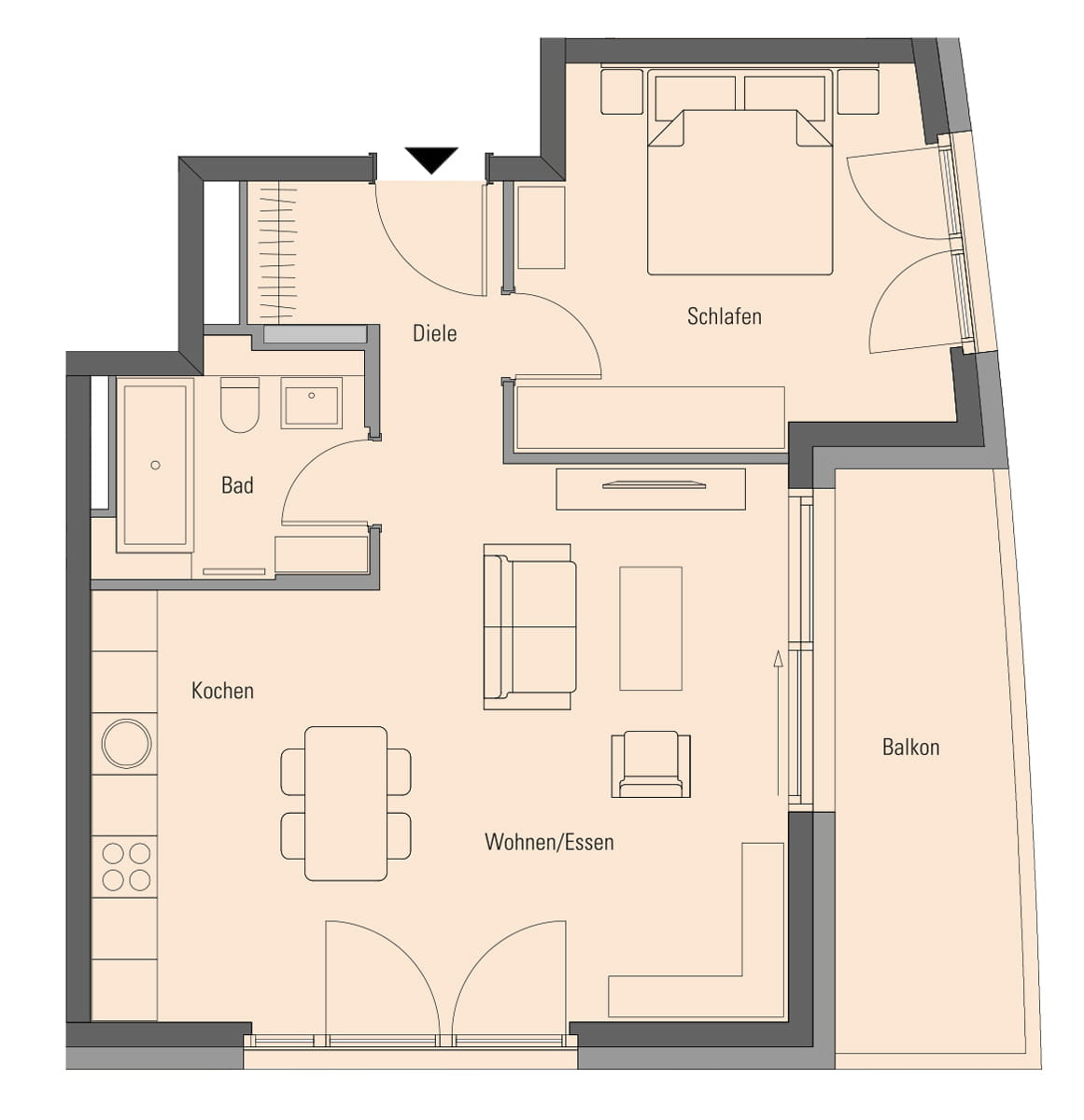 Apartment 2.2.7, 2 Rooms, 64.4 m²