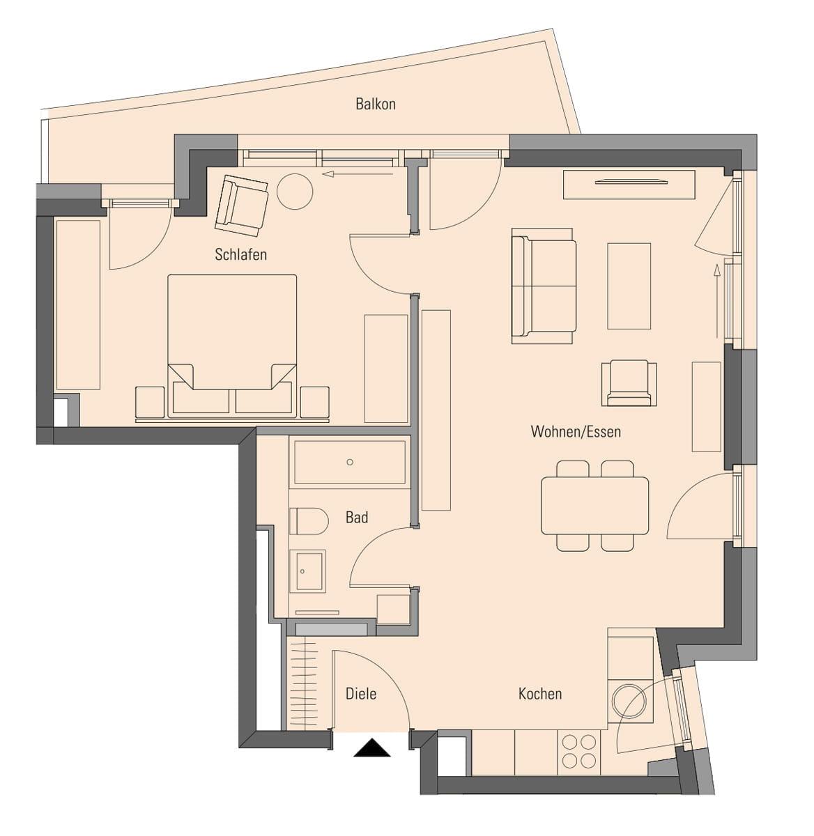 Apartment 2.2.8, 2 Rooms, 62.6 m²